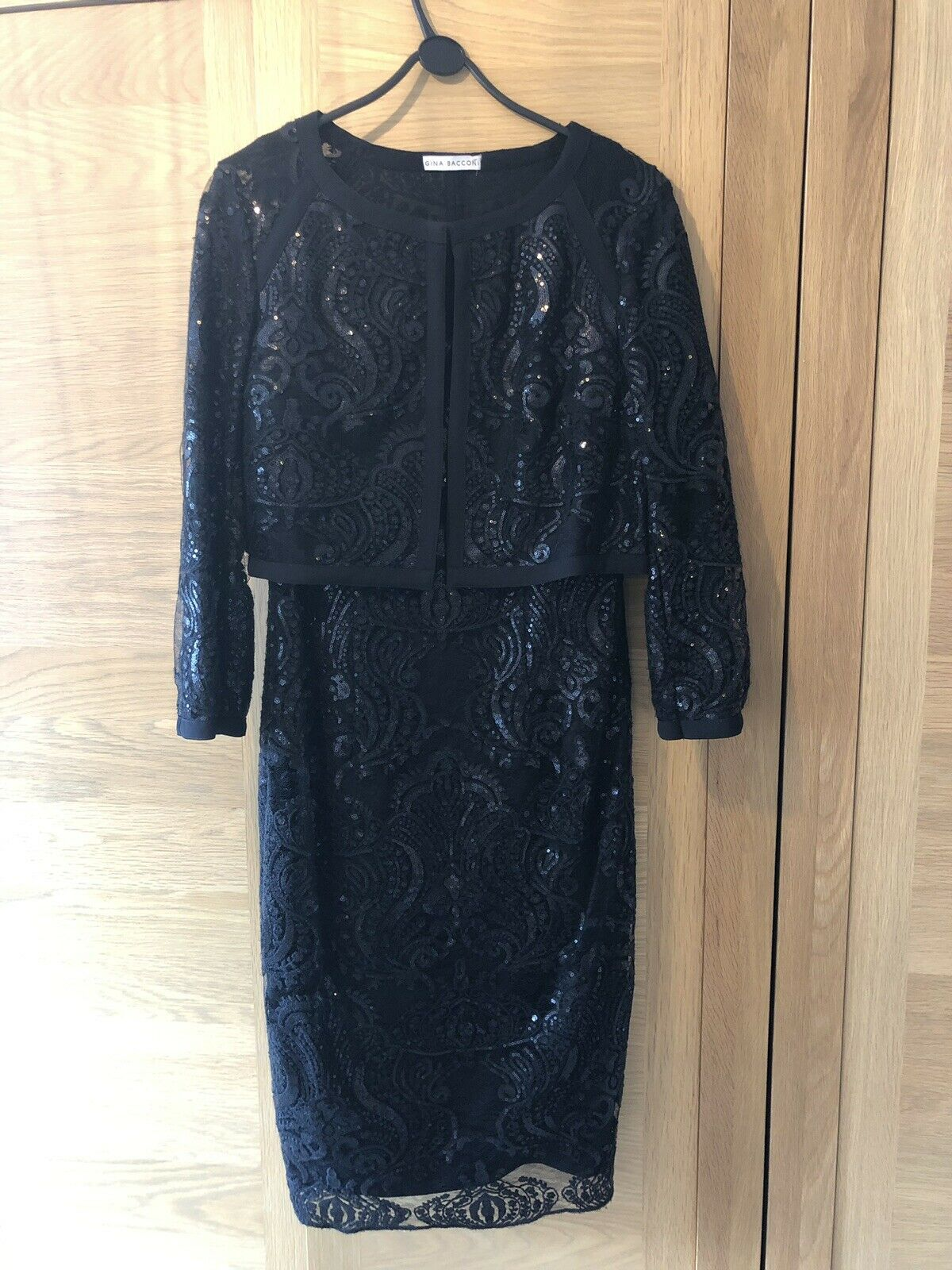 Gina Bacconi Black Size 12 Sequin Embesselled Dress And Jacket