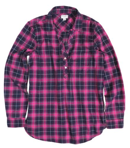 J.Crew Women/'s XXS Boyfriend Fit NWT$69 Pink//Navy Plaid Popover Flannel Shirt