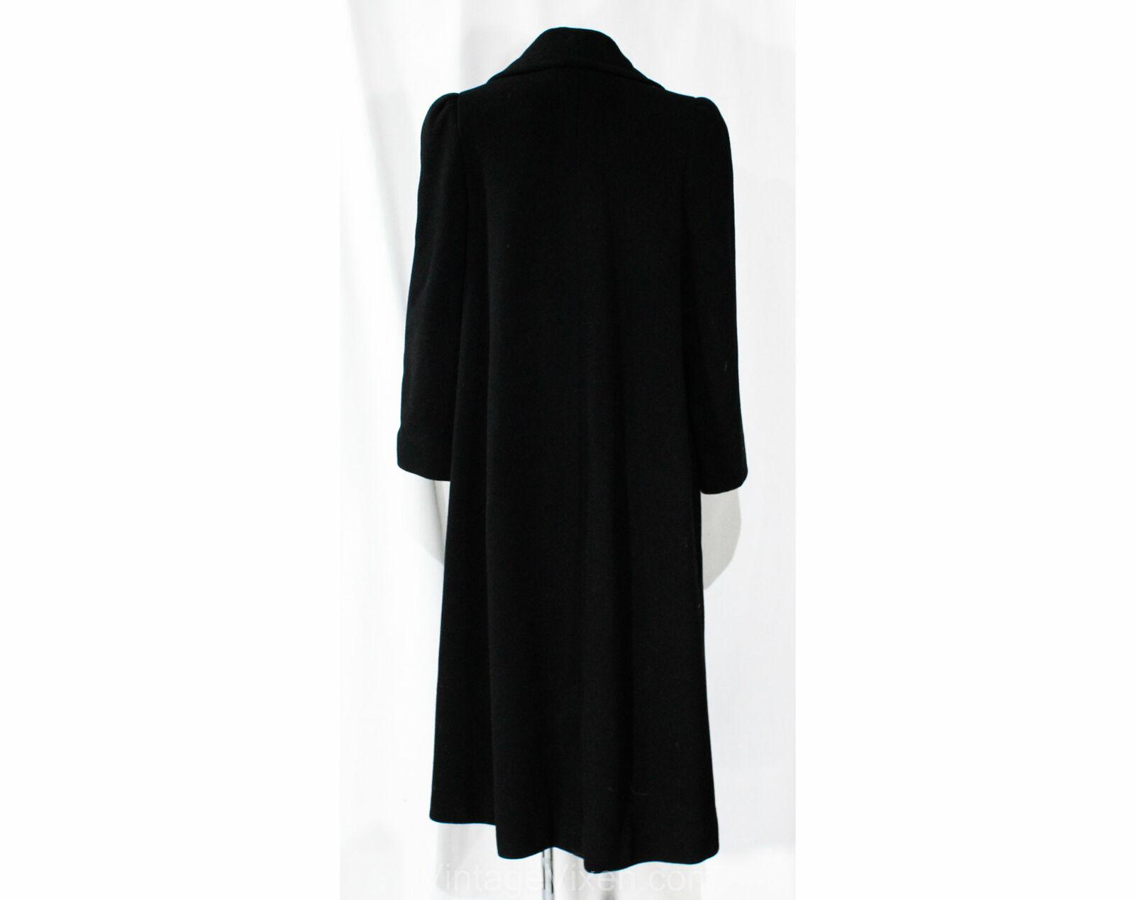 Size 10 Black Winter Coat - Designer 80s Overcoat… - image 7