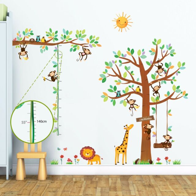 decowall monkey height chart nursery removable wall stickers decal