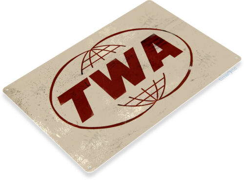 TIN SIGN TWA Trans World Airlines Aviation Metal Wall Décor Shop Store A747