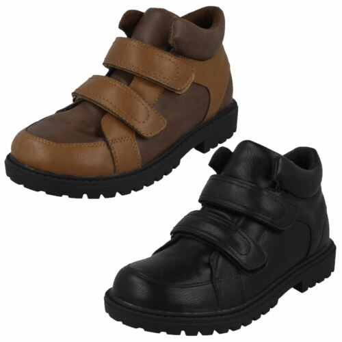 N2R058 JCDEES BOYS HOOK AND LOOP STRAP BLACK BROWN WINTER ANKLE BOOTS SHOES