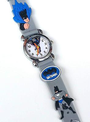 Batman Kinder Armbanduhr Jungen Uhr Kid Boy Wrist Watch 3D Gummi Silikon Grau