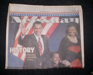 PRESIDENT BARAK OBAMA VICTORY NOV 5, 2008 NY NEWSDAY NEWSPAPER COMPLETE