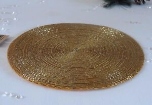 Sets 2,4,6 or 8 Gold Beaded Round Place Mats Table Setting Christmas ...