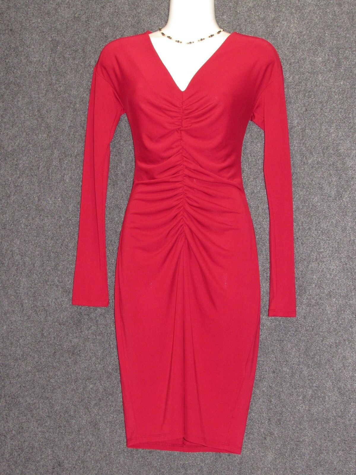 NARCISO RODRIGUEZ for Design Burgundy Ruched Stretch Jersey Sheath Dress SZ XS