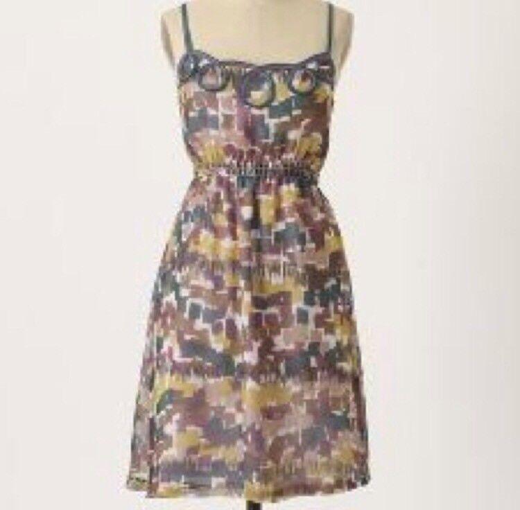 Anthropologie Wendy Katlen Looped Silk Watercolor Dress 8