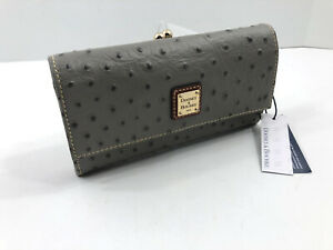 Dooney-amp-Bourke-Ostrich-Embossed-Leather-Kiss-Lock-Framed-Clutch-Wallet-Gray-NWT