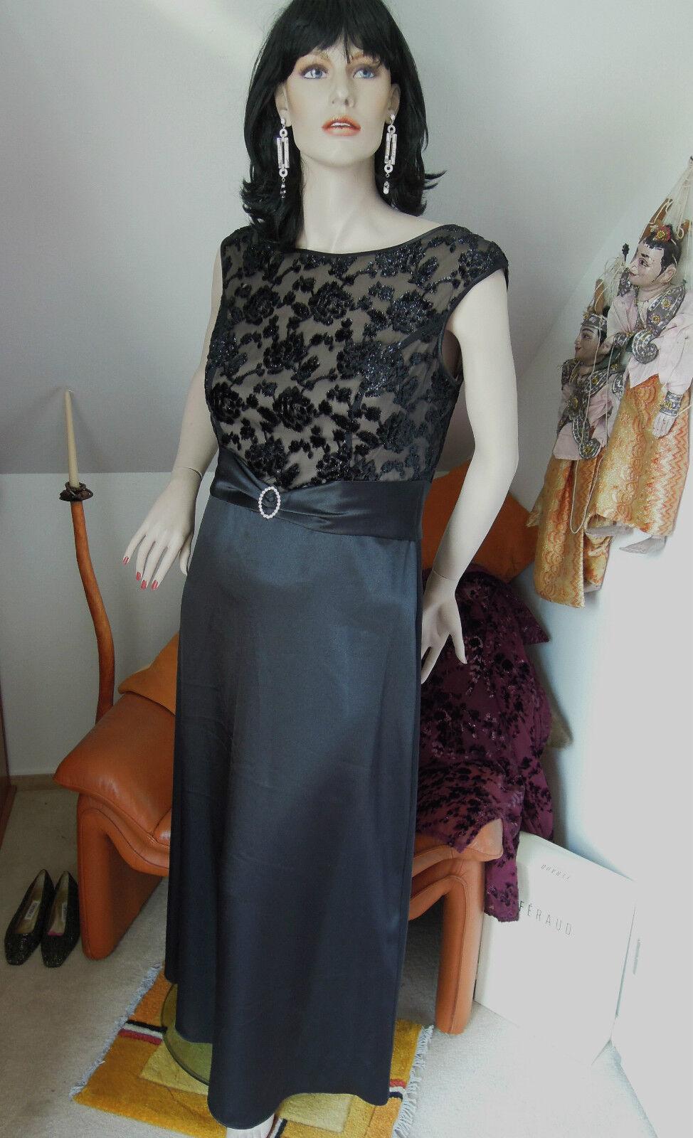 Abendkleid Gr. 46  Gr.48 schwarz Strass Samt nude sexy rassig ausdruckstark lang