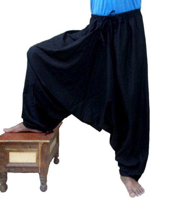 Men Cotton Black Harem Pants Dance Trouser Afghani Yoga Baggy Women Genie Gypsy