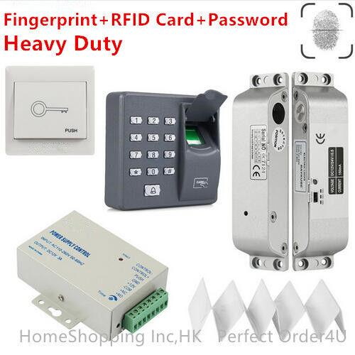 Puerta de huellas digitales +125KHz Rfid Zkteco Sistema De Control De Acceso + Cerradura Eléctrica Para Empotrar