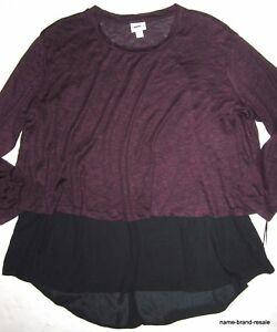 6bb499df5ae662 AVA   VIV NEW Womens PLUS 3X 24 26 Hi Low Tunic Top Shirt Plum Black ...