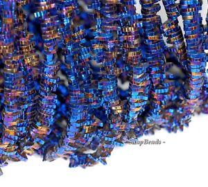 "2Strand 5x3x3mm Blue Hematite Oblong Pendant Loose Bead 15.5 /"" 13g A-476TS"
