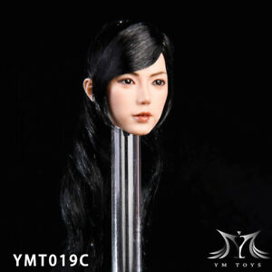 YMTOYS 1/6 Female Head Model Black Hair Head YM019C Wheat Skin F 12'' Figure