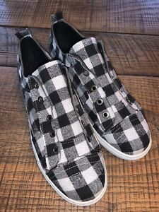 new womens casual shoes black and white buffalo check sz 9