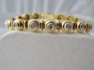 TENNIS-ARMBAND-mit-0-85-ct-BRILLANTEN-750-18K-GOLD-26-2G-BICOLOR-WERT-5400