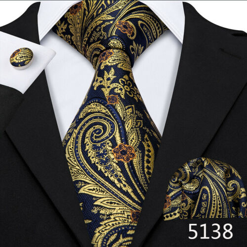Classic Mens Paisley Silk Tie Set Blue Gold Purple Black Teal Necktie Wedding