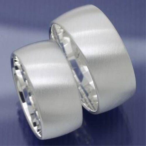 1 Paar 10 mm breite Silber Eheringe Trauringe Partnerringe Freundschaftsringe