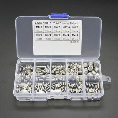 200PCS M3 M4 M5 M6 M8 Hex Head Socket Hex Grub Screw Set Assortment Kit Y3O1
