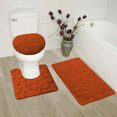 SOLID BATH RUG CONTOUR MAT TOILET LID COVER BATHROOM SET 3PC RUST BRICK #6