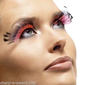 be6abdc7c1c Image is loading Ladies-Long-Black-Pink-Feather-False-Eyelashes-Burlesque-