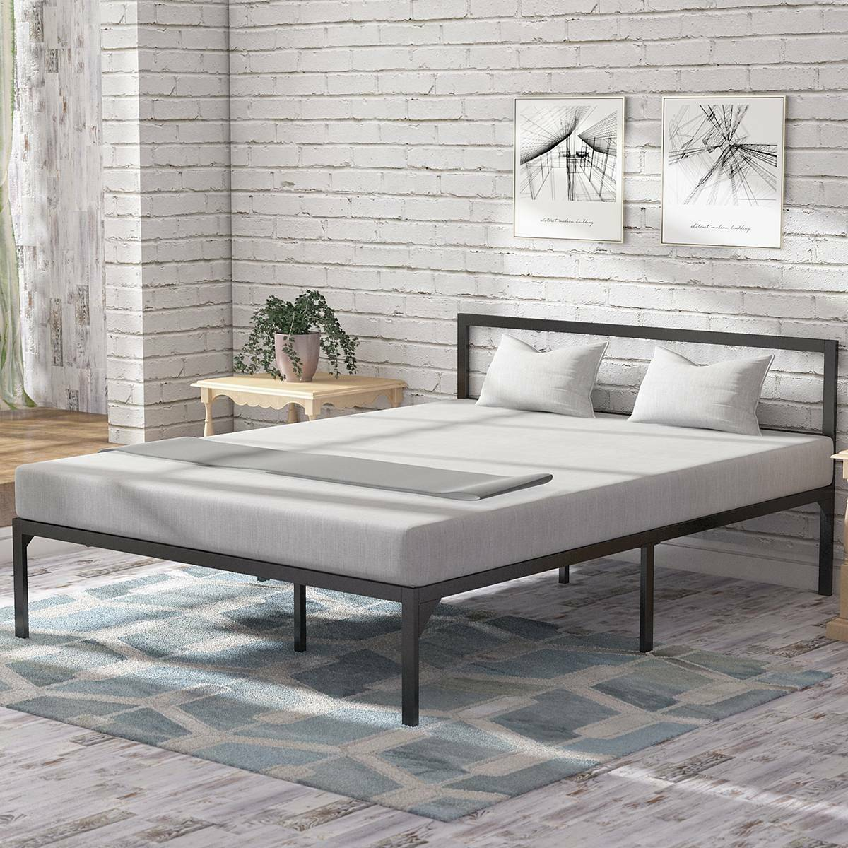 Picture of: Yitahome Queen Size Platform Bed Frame Mattress Foundation With Headboard Wood For Sale Online