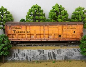 HO-Scale-Custom-Painted-Weathered-Train-Freight-Box-Car-Illinois-Terminal-Thrall