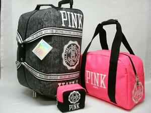 3 Nwt con mano de piezas Pink belleza de Juego de equipaje Secret Vip ruedas Victorias bolso y de OqnzwqU