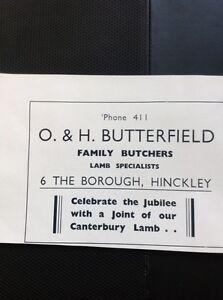 N1-1-Ephemera-1935-Hinckley-Advert-I-amp-H-Butterfield-Butchers