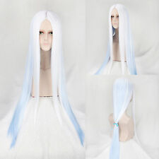 100cm Long Straight Lolita Blue Ombre White Hair Women Costume Party Cosplay Wig