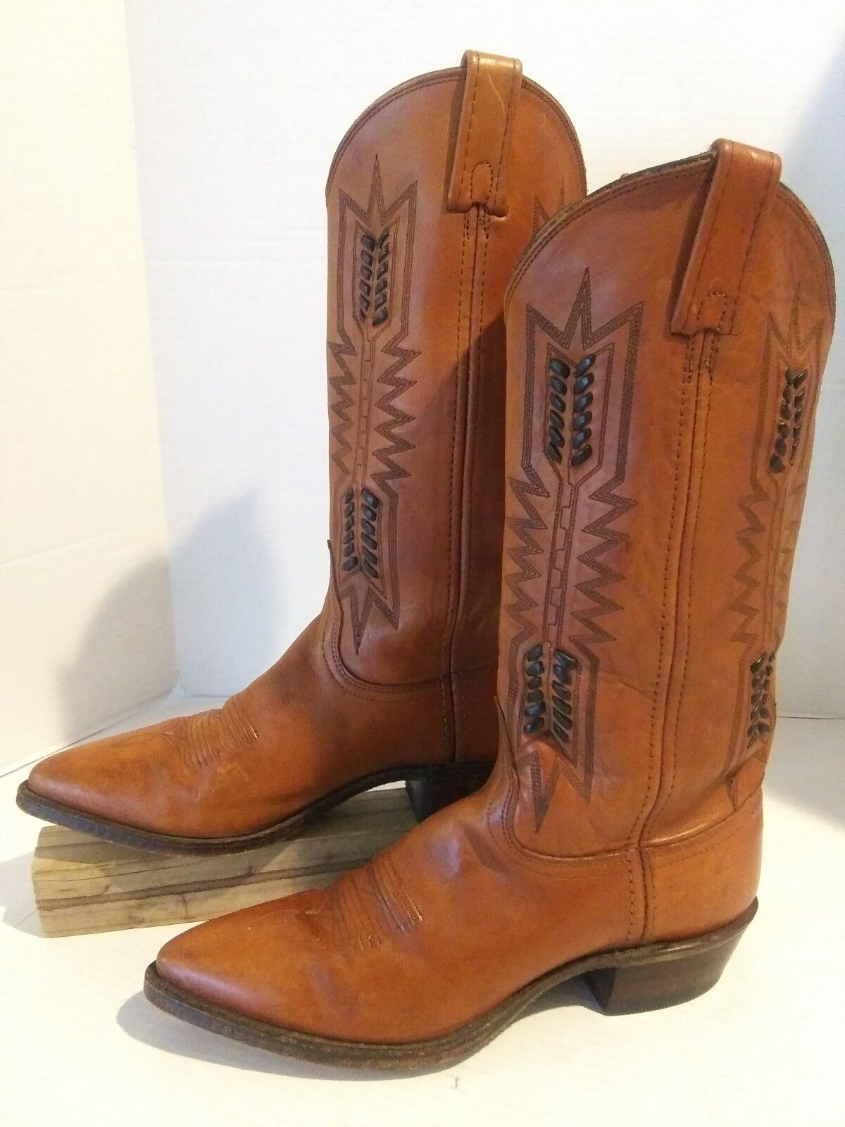 "Women's DAN POST 7.5M Western Boots 14"" Chestnut Brown Leather Point Toe Nice"