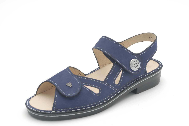 Finn Comfort Sandaletten Sandalen Costa Nubuk atoll blau Leder Einlagen Fußbett