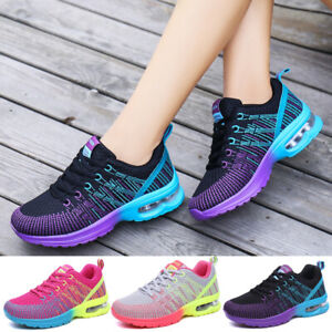Womens-Athletic-Tennis-Sneakers-Mesh-Flyknit-Breathable-Walking-Running-Shoes