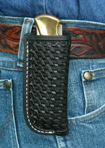 Large-Leather-Pocket-Knife-Pouch-Sheath-Ruff-s-Saddle-Shop-Basket-Weave-Black