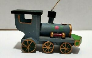 Vintage Wooden Train Engine Christmas Tree Ornament Xmas ...