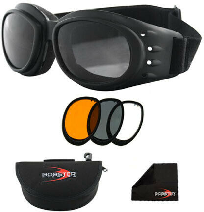 Bobster Eyewear Cruiser II Black Frame Interchangeable Goggles with 3 BCA2031AC