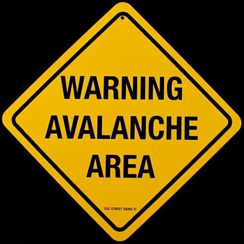 Metal Yellow Danger WARNING AVALANCHE AREA Street Sign Bar//Pub Wall Skiing Decor