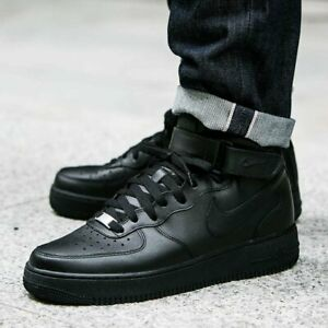 new concept 58a89 bfbb5 Details about Nike Mens Air Force 1 Mid 07 Fashion Trainers - All Black  Size 6 7 8 9 10 11