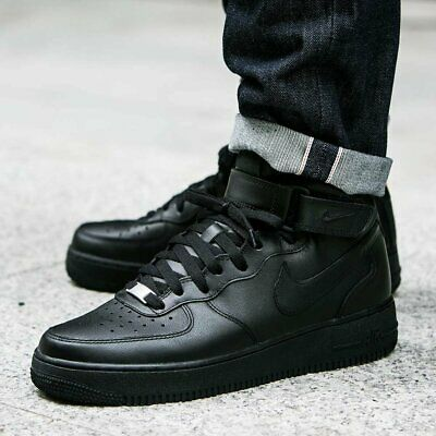 Nike Mens Air Force 1 Mid 07 Fashion Trainers All Black Size 6 7 8 9 10 11 12 eBay  eBay