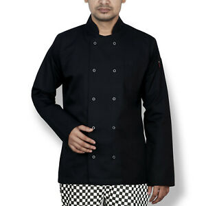 BLACK LONG sleeve Chef Jackets UK Catering Chef jacket with STUB BUTTON