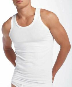 3-X-MENS-WHITE-VESTS-FITTED-100-COTTON-GYM-TRAINING-TANK-TOP-NEW-TOP