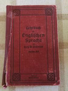 Buch-Gesenius-F-W-Lehrbuch-der-englischen-Sprache-Halle-1912-Flohmarkt