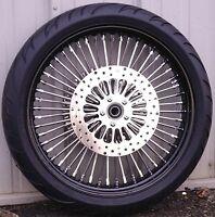 21 X 3.5 52 Mammoth Fat Spoke Wheel Black Rim Hub 120/70-21 Tire Package Touring