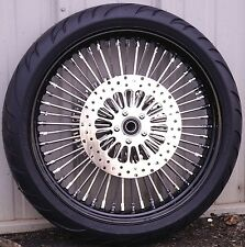 21 x 3.5 48 Fat King Spoke Front Wheel Black Rim 120/70-21 Tire Package Touring