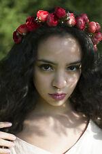 Red Ranunculus Garland Flower Headband Hair Crown Festival Boho Tea Rose V75