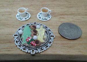 Dollhouse Miniature Christmas Snowman Cookies on Tray ~ IM65281