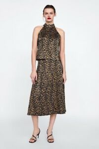 NWT-ZARA-BLACK-BROWN-GOLD-ANIMAL-PRINT-TOP-WRINKLED-SHINY-HIGH-NECK-SIZE-L