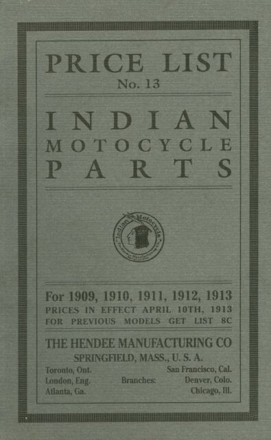 1909 1913 Indian Motorcycle Parts List Antique Reproduction For Sale