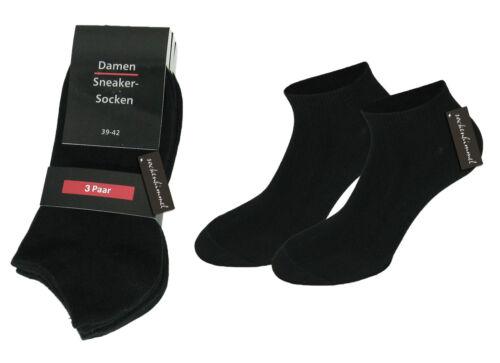 12 paire noire de chaussettes sneaker Femmes polarzip-coton élasthanne 39//42