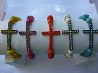 Colorful Sideways Cross Bracelets Colored Crosses Match Shamballa Bead Arm Candy